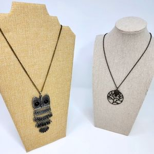 Two Cute Owl Necklaces, Articulated and Fun